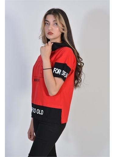 Zeren Kadın Kırmızı Yazı Baskılı Tişört Kırmızı